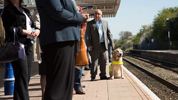 Guide dog owner and guide dog standing on a train station platform