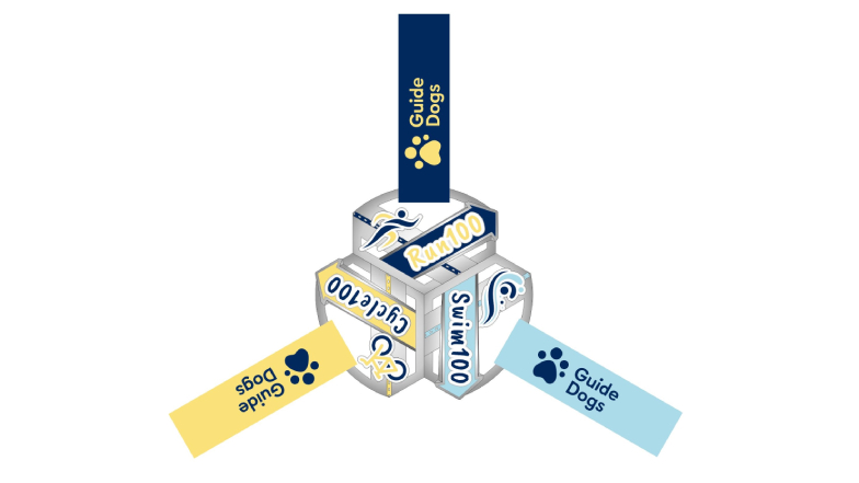 Group of 3 100 for Guide Dogs medals interlocking
