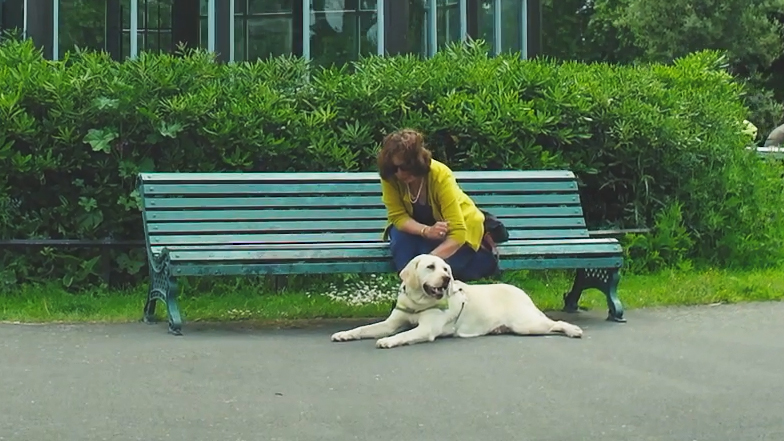 Guide dog owner sitting on a bench with her guide dog at her feet