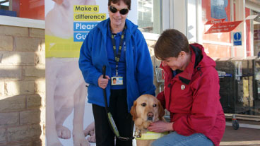 A volunteer stood outside a shop with a collection box while her guide dogs sits beside her