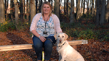 Lucy sat down with guide dog Olivia