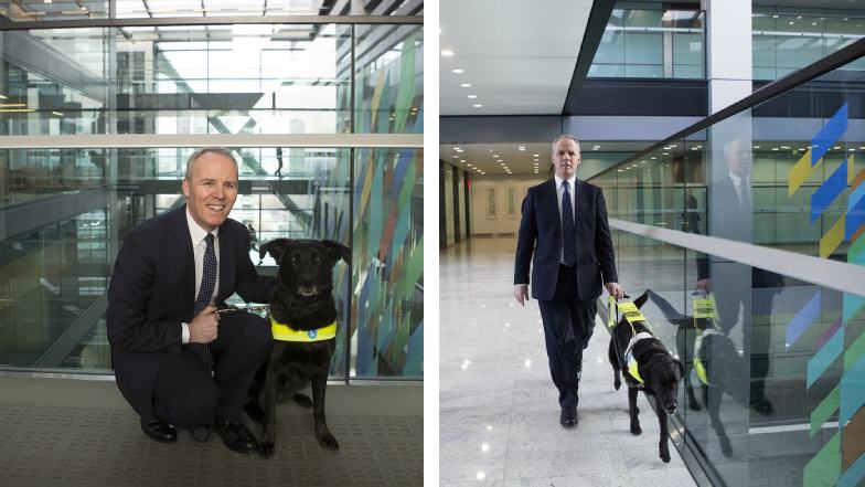 Citi-employee-Patrick-Moran-cuddling-and-walking-with-his-guide-dog-Yoda
