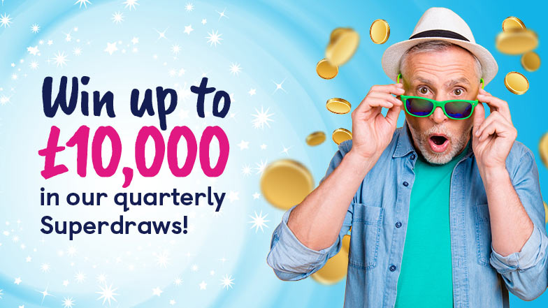 "A man holding his glasses and looking surprised with text saying ""Win up to £10,000 in our quarterly superdraws"""