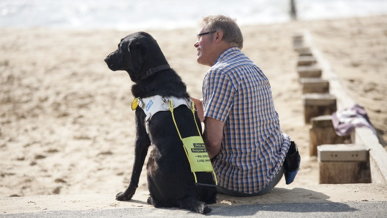 Guide dog owner and dog sitting on the beach Guide Dogs